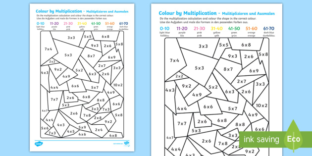 colour by multiplication activity sheet english german. Black Bedroom Furniture Sets. Home Design Ideas