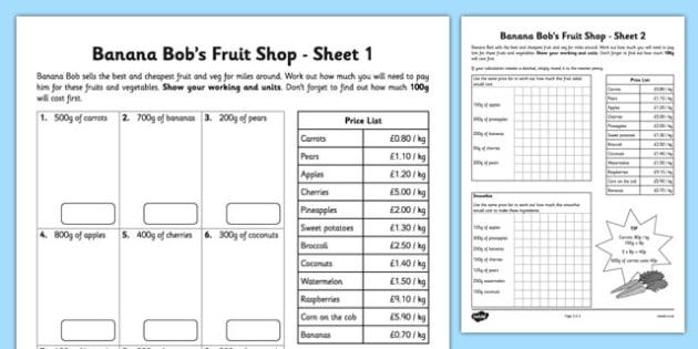 Banana Bob's Fruit and Veg Stall - ratio, money, real life, context, banana bob, fruit and veg, stall
