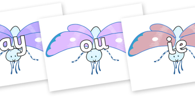 Phase 5 Phonemes on Blue Butterfly to Support Teaching on The Crunching Munching Caterpillar - Phonemes, phoneme, Phase 5, Phase five, Foundation, Literacy, Letters and Sounds, DfES, display