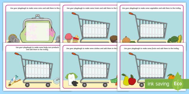 Shopping Themed  Playdough Mats - shops, supermarket, play dough, play doh, malleable, fine motor