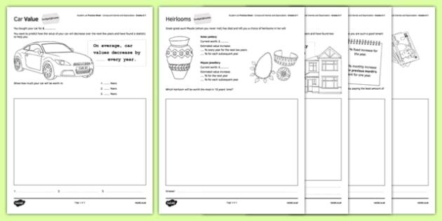 Student Led Practice Sheet Budget at Home Compound Interest and Depreciation - KS3, KS4, GCSE, Maths, Finance, Budget, Home, independent learning, growth mindset, practise, assessment