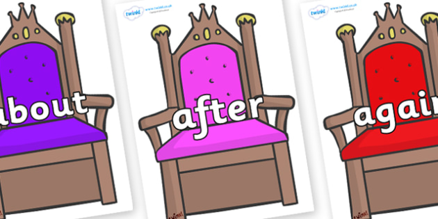 KS1 Keywords on Thrones - KS1, CLL, Communication language and literacy, Display, Key words, high frequency words, foundation stage literacy, DfES Letters and Sounds, Letters and Sounds, spelling