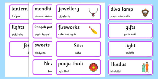 Diwali Topic Words Polish Translation - polish, Word cards, Word Card, flashcard, flashcards, Diwali, religion, hindu, hanoman, rangoli, sita, ravana, pooja thali, rama, lakshmi, golden deer, diva lamp, sweets, new year, mendhi, fireworks, party, foo