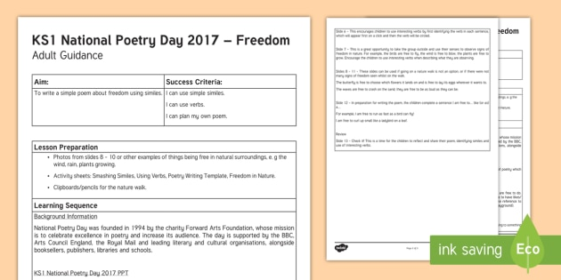 KS1 National Poetry Day Resource Pack Planning and Adult Guidance - national poetry day, 28.9.17, writing poems, lesson suggestions, y1 and y2