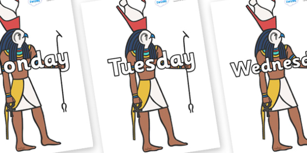 Days of the Week on Egyptian Gods - Days of the Week, Weeks poster, week, display, poster, frieze, Days, Day, Monday, Tuesday, Wednesday, Thursday, Friday, Saturday, Sunday