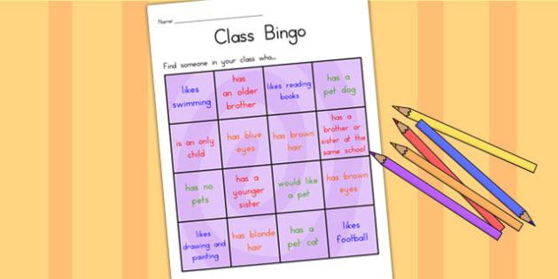 Class Welcome Transition Bingo Board - welcome, transition, bingo