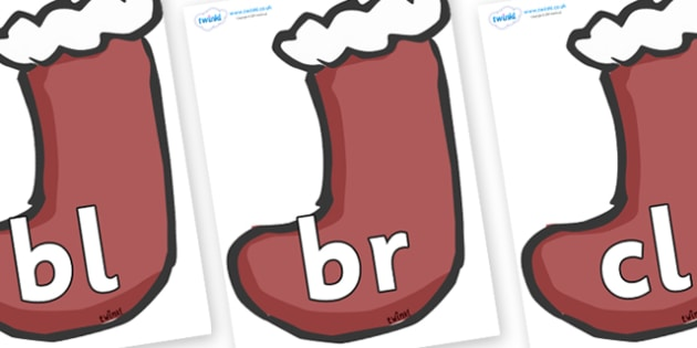 Initial Letter Blends on Stockings (Plain) - Initial Letters, initial letter, letter blend, letter blends, consonant, consonants, digraph, trigraph, literacy, alphabet, letters, foundation stage literacy