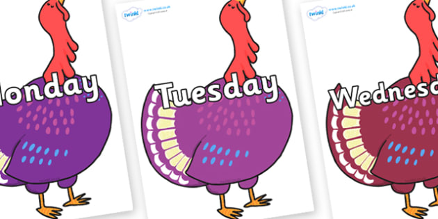Days of the Week on Hullabaloo Turkey to Support Teaching on Farmyard Hullabaloo - Days of the Week, Weeks poster, week, display, poster, frieze, Days, Day, Monday, Tuesday, Wednesday, Thursday, Friday, Saturday, Sunday