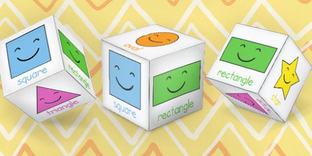 2D Shape Sorting Cube Nets - shape, sorting, cubes, sort, activity