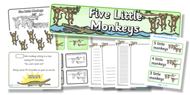Five Little Monkeys Resource Pack - five little monkeys, resource pack, pack of resources, themed resource pack, five little monkeys pack, nursery rhymes