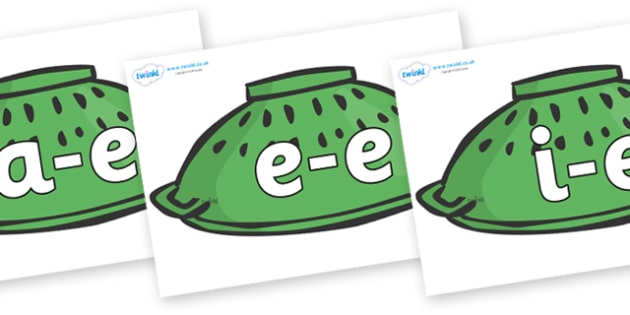 Modifying E Letters on Colanders - Modifying E, letters, modify, Phase 5, Phase five, alternative spellings for phonemes, DfES letters and Sounds