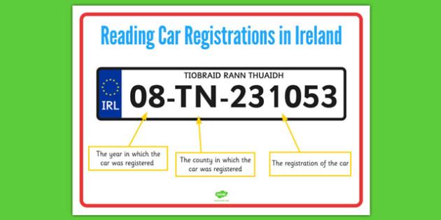 Reading a Car Registration Display Poster - roi, irish, republic of ireland, reading, car, registration, display poster