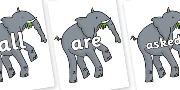 Tricky Words on Trunky The Elephant to Support Teaching on The Enormous Crocodile - Tricky words, DfES Letters and Sounds, Letters and sounds, display, words