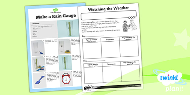 Geography: Wonderful Weather Year 1 Unit Home Learning Tasks