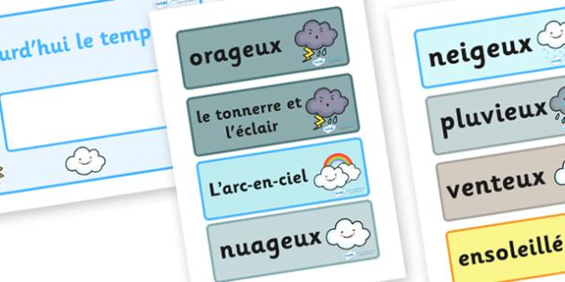 Weather Display Cards - Weather, display cards, card, flashcards, weather chart, rain, sun, snow, fog, cloud, warm, cold