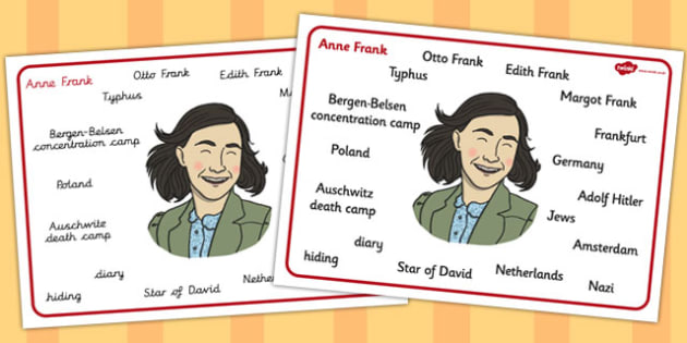 Anne Frank Word Mat - anne, frank, word, mat, word mat, ww2