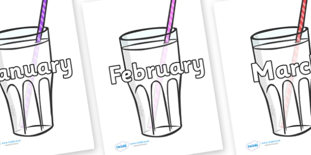 Months of the Year on Milkshakes - Months of the Year, Months poster, Months display, display, poster, frieze, Months, month, January, February, March, April, May, June, July, August, September