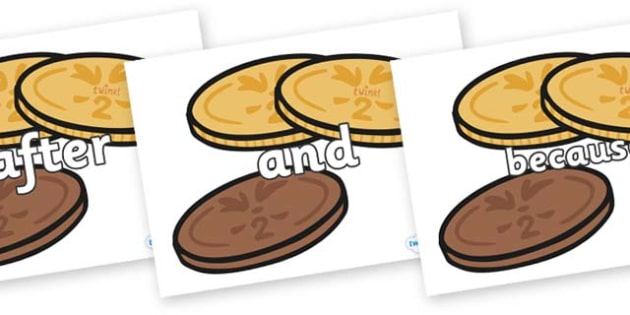 Connectives on Chocolate Coins - Connectives, VCOP, connective resources, connectives display words, connective displays