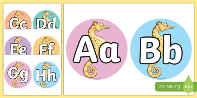 A-Z on Alphabet Seahorses - Fish, Under the sea, Alphabet frieze, Display letters, Letter posters, A-Z letters, Alphabet flashcards, sea, seaside, display, posters, water, tide, fish, sea creatures, shark, whale, marine, dolphin, starfish, waves, san