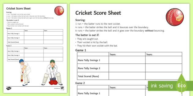 Cricket Score Sheet Activity - Cricket, Scoring, Umpire