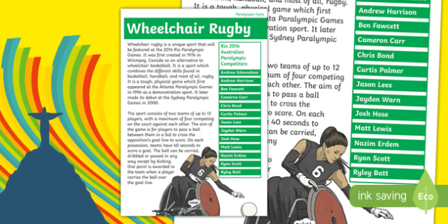 Australia Rio Paralympics 2016 Wheelchair Rugby Display Poster