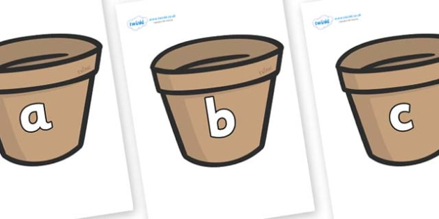 Phase 2 Phonemes on Flower Pots (Plain) - Phonemes, phoneme, Phase 2, Phase two, Foundation, Literacy, Letters and Sounds, DfES, display