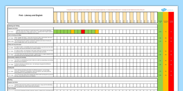 Scottish Curriculum for Excellence First Literacy and English Assessment Spreadsheet - CfE, planning, tracking, literacy, language, english, First
