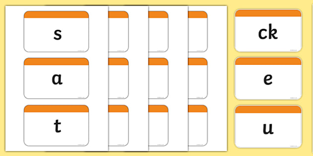 Phase 2 Phoneme Plain Flash Cards - phase two, phases, visual aid