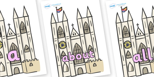 100 High Frequency Words on Churches - High frequency words, hfw, DfES Letters and Sounds, Letters and Sounds, display words