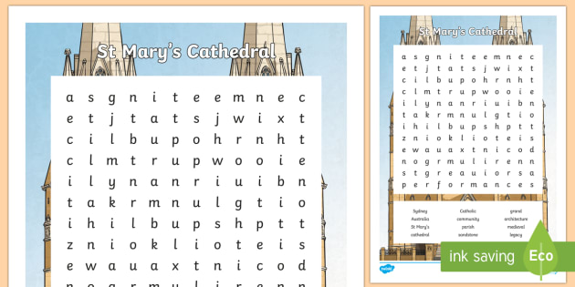 St. Mary's Cathedral Word Search - Sydney Australia, st mary's cathedral, find a word, word search, fun, activity, spelling, vocabular