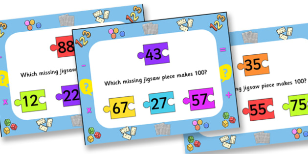 Number Bonds To One Hundred Jigsaw PowerPoint - number bonds, number bonds to one hundred, jigsaw, jigsaw powerpoint, powerpoint, number bonds powerpoint