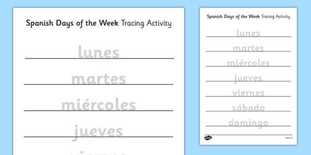 Days of the Week Tracing Activity - spanish, days of the week, days, week, tracing, activity, trace