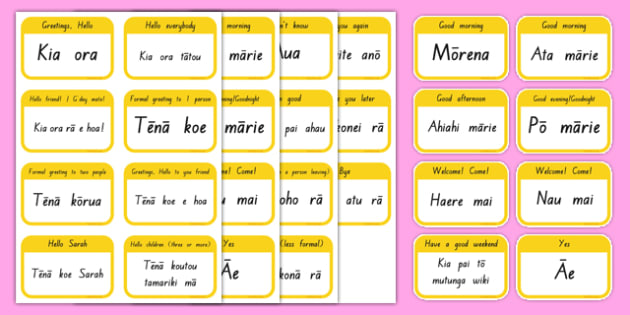 Greetings Flashcards - Te Reo Māori Resources, Greetings
