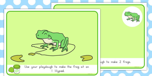 Basic Counting Frogs Playdough Mats - australia, basic, counting, frogs, playdough