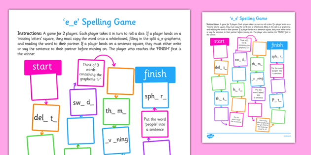 e-e Spelling Board Game