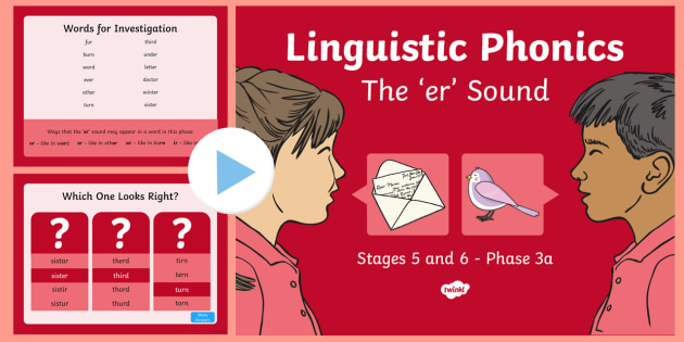 Northern Ireland Linguistic Phonics Stage 5 and 6 Phase 3a, 'er' Sound PowerPoint