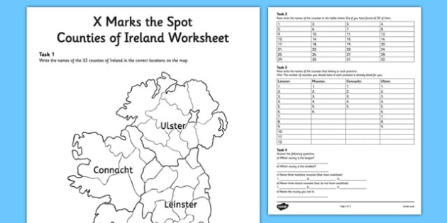 X Marks the Spot Counties of Ireland Worksheet - x, marks, spot, counties, ireland