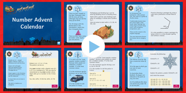 UKS2 Number Advent Calendar PowerPoint