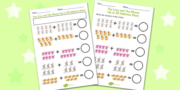 The Lion And The Mouse Up to 20 Addition Sheet - addition, lion