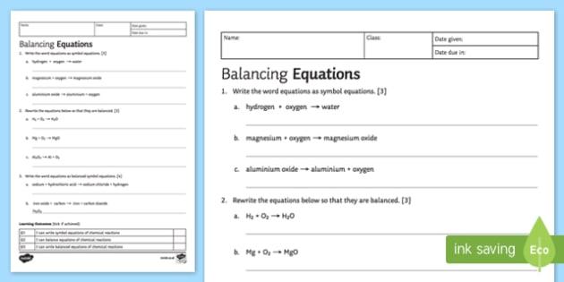 KS3 Balancing Equations Homework Activity Sheet
