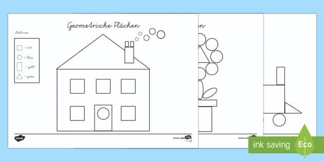 Geometrische Flächen Erkennen und Anmalen Arbeitsblatt