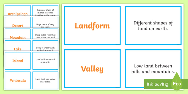 Landforms Concentration Matching Game - Science Concentration Games, Body Systems, Earth and Sun, Ecology, Weather and Climate, Heat Energy,
