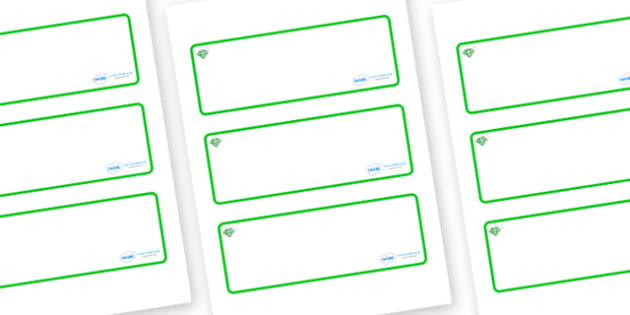 Emerald Themed Editable Drawer-Peg-Name Labels (Blank) - Themed Classroom Label Templates, Resource Labels, Name Labels, Editable Labels, Drawer Labels, Coat Peg Labels, Peg Label, KS1 Labels, Foundation Labels, Foundation Stage Labels, Teaching Labe