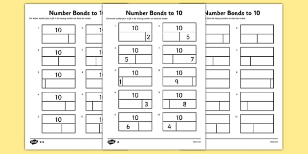 Bar Modelling Number Bonds to 10 Differentiated Activity Sheet