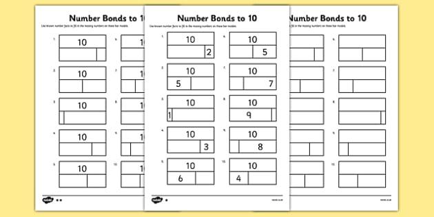 Bar Modelling Number Bonds to 10 Differentiated Activity Sheet Pack - bar model, bar modelling, number bonds to 10, worksheet