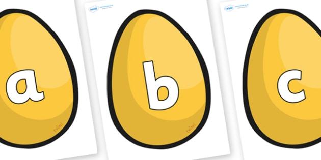 Alphabet on Golden Eggs -  display, Phase 1, Phase 2, Foundation, Literacy, writing, alphabet, abc, jack, beanstalk, golden, easter