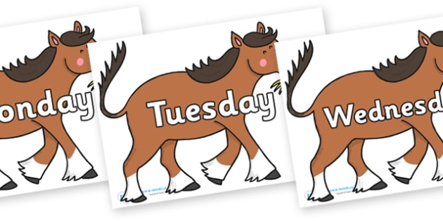 Days of the Week on Hullabaloo Carthorse to Support Teaching on Farmyard Hullabaloo - Days of the Week, Weeks poster, week, display, poster, frieze, Days, Day, Monday, Tuesday, Wednesday, Thursday, Friday, Saturday, Sunday