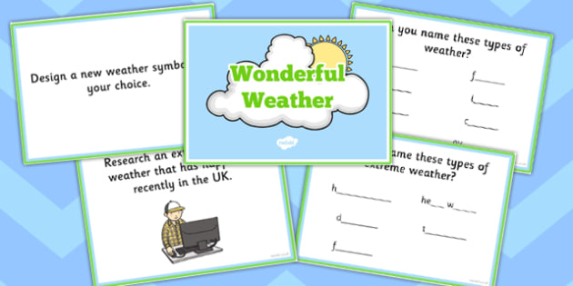 Wonderful Weather Challenge Cards - challenge cards, weather