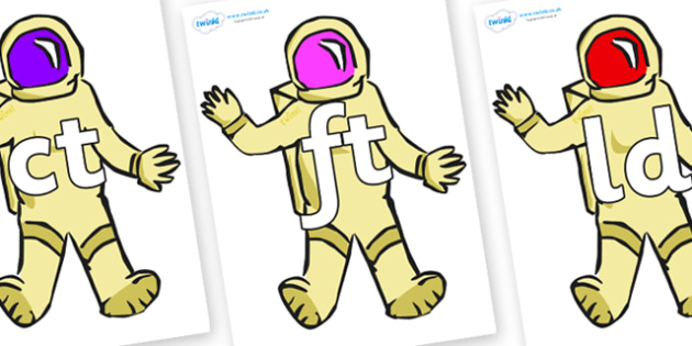 Final Letter Blends on Astronauts - Final Letters, final letter, letter blend, letter blends, consonant, consonants, digraph, trigraph, literacy, alphabet, letters, foundation stage literacy