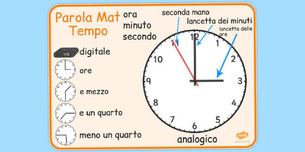 Italian Time Word Mat - italian, time word mat, word mat, time